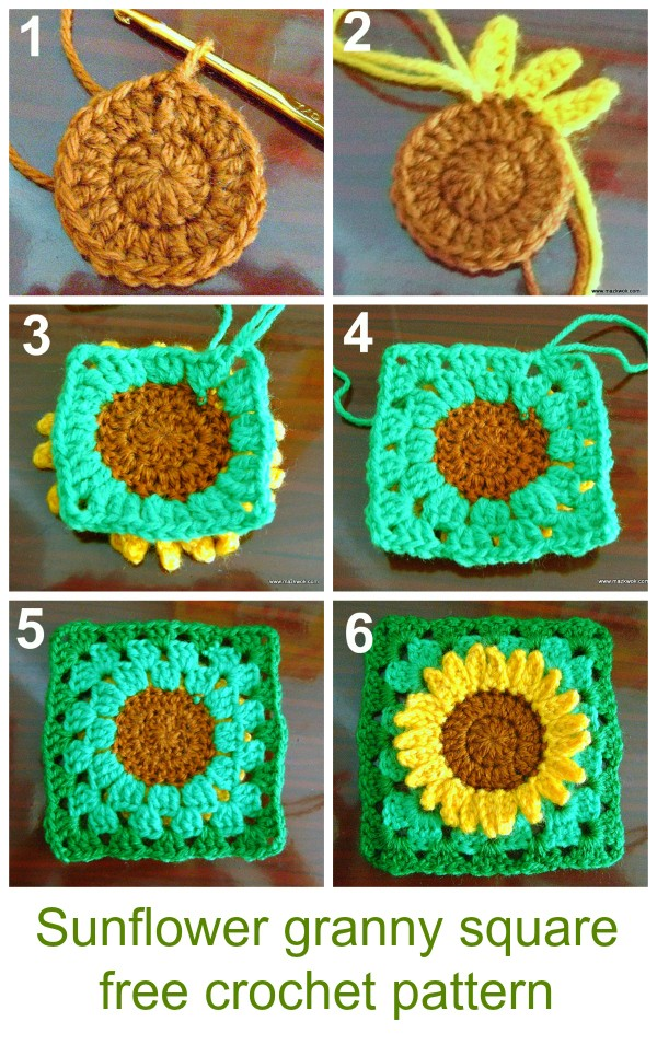 Sunflower Granny Square Free Crochet Pattern 1