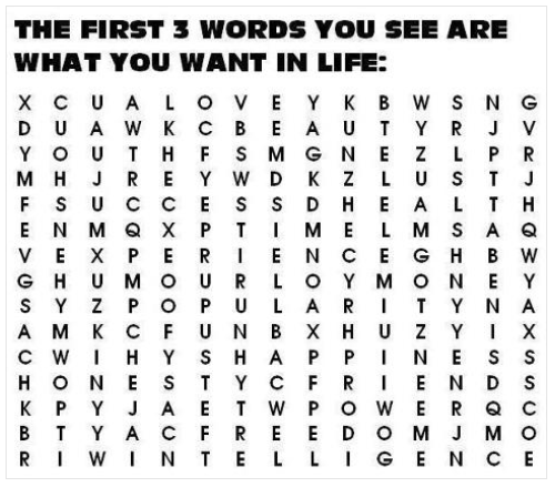The First Three Words You See Are What You Want In Life