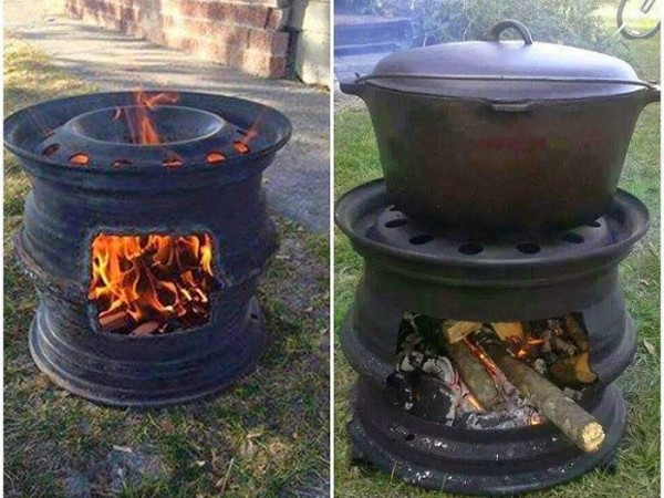 DIY BBQ Grill With Car Wheel Rims