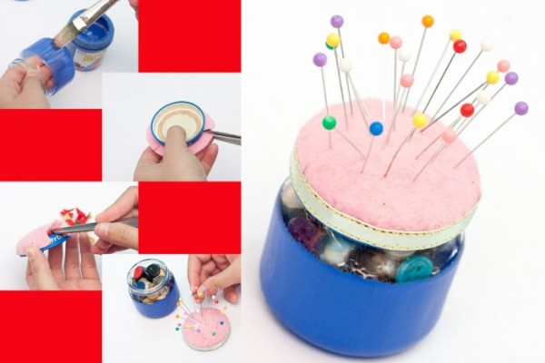 Pincushion And Button Bottle All-in-one