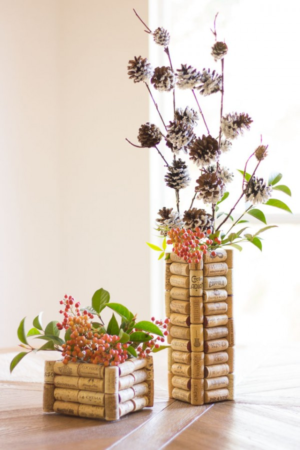 DIY Wine Cork Vases 2