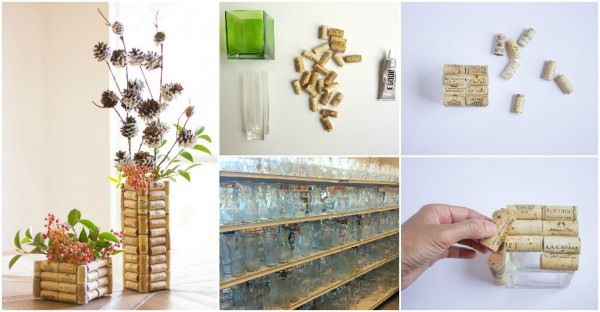 DIY Wine Cork Vases