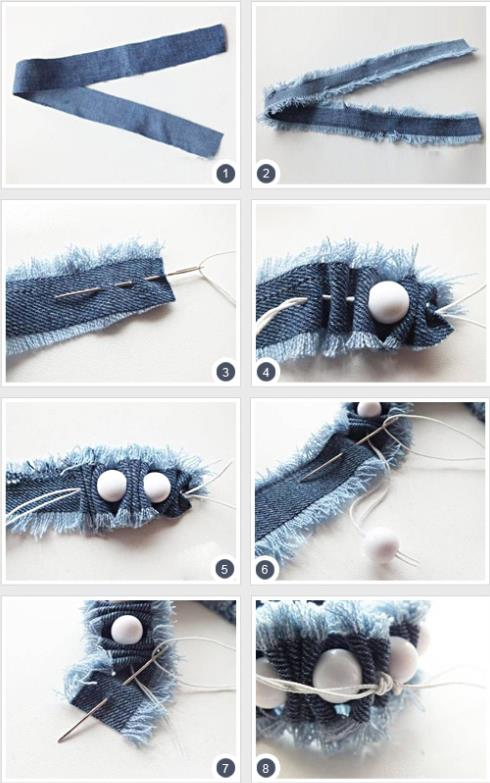 How To Make Bracelets With Old Jeans 2