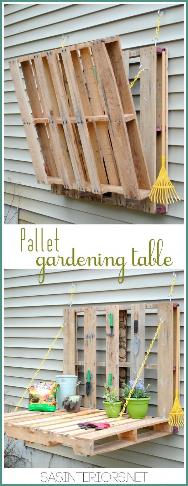 DIY Pallet Gardening Table 1