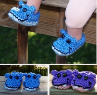 Happy Hippo Baby Booties Crochet Pattern