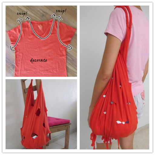 How To Make DIY No Sew Bags From Old T shirts