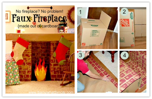 Cardboard faux logs cardboard dollhouses picture how to build a faux fireplace
